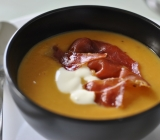 Chipotle Sweet Potato Soup with Crème Fraiche