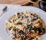 Creamy Pasta with Kale, Mushrooms & Pancetta