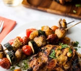 Tandoori Turkey Thighs with Mushroom and Zucchini Skewers