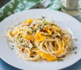 Zucchini and Summer Squash Ribbons on Pasta with Creamy Goat Cheese Sauce