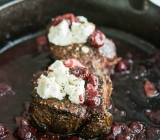 Steak Tenderloin with Sour Cherries, Port Wine Reduction & Goat Cheese