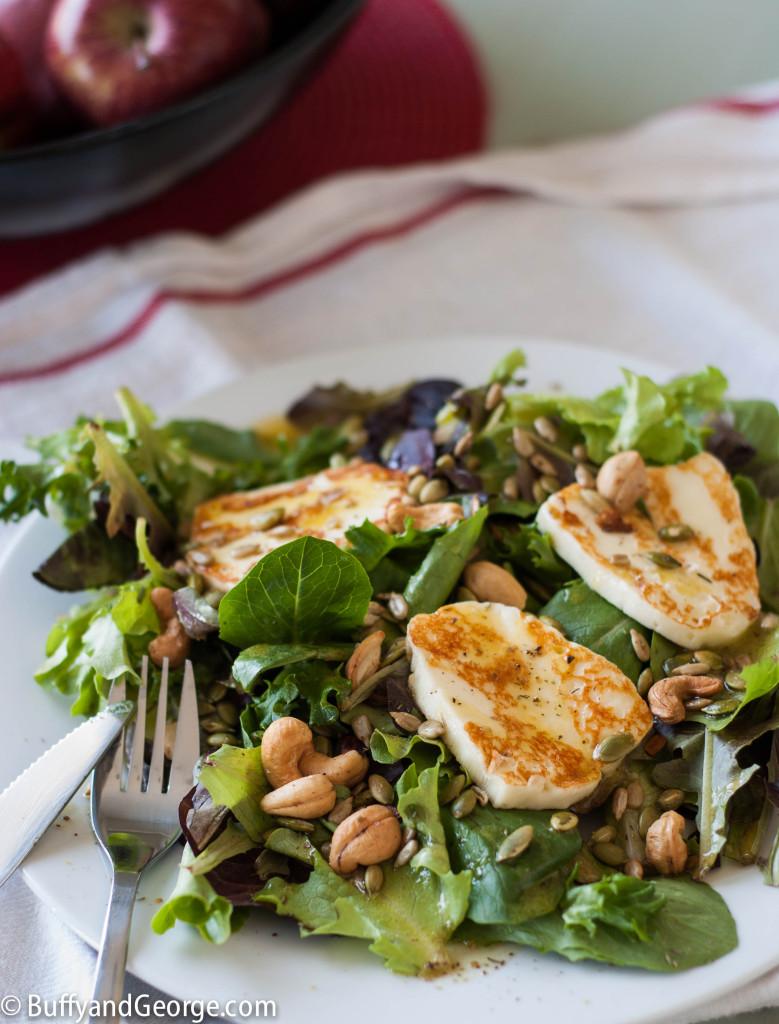 Mixed salad greens with fried halloumi, nuts, seeds & a Za'atar vinaigrette.