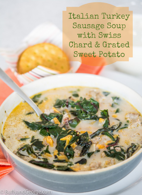 Italian Turkey Sausage Soup with Swiss Chard & Sweet Potato