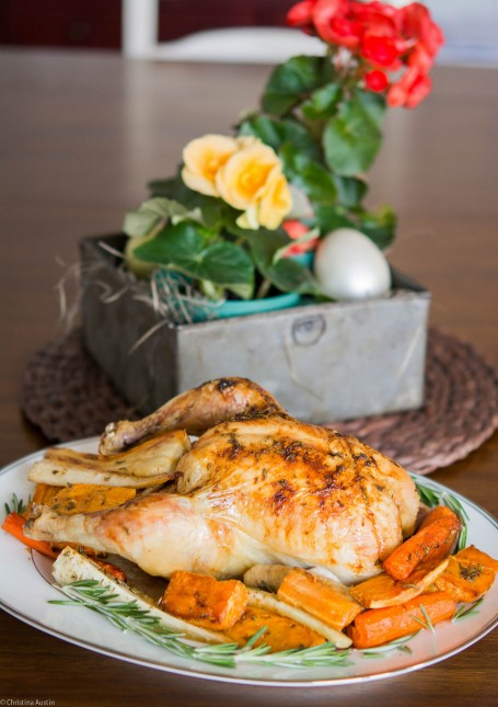 Roasted Lemon and Rosemary Chicken and root vegetables