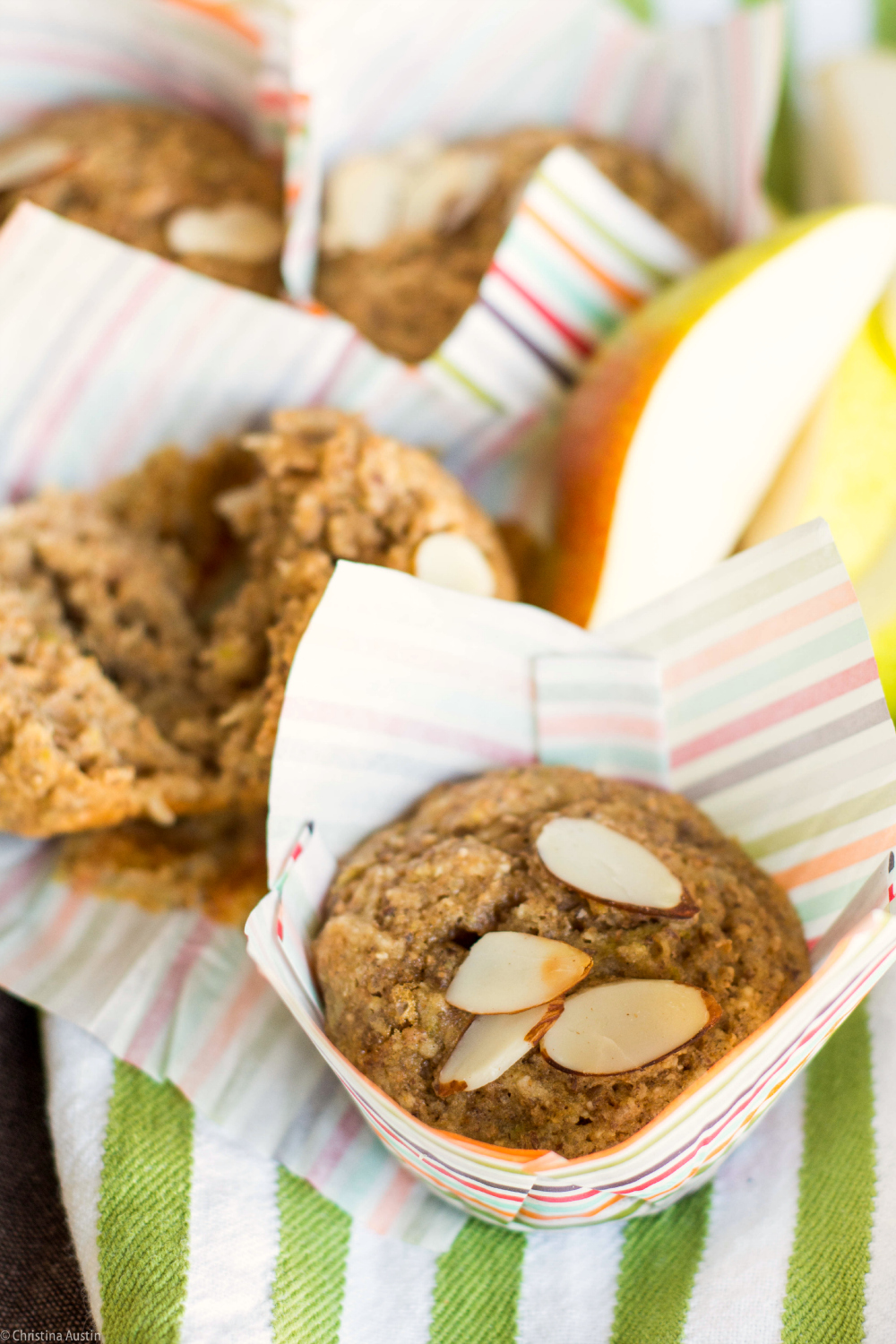 Spiced Pear and Almond Muffins with whole wheat flour and milled flaxseed.