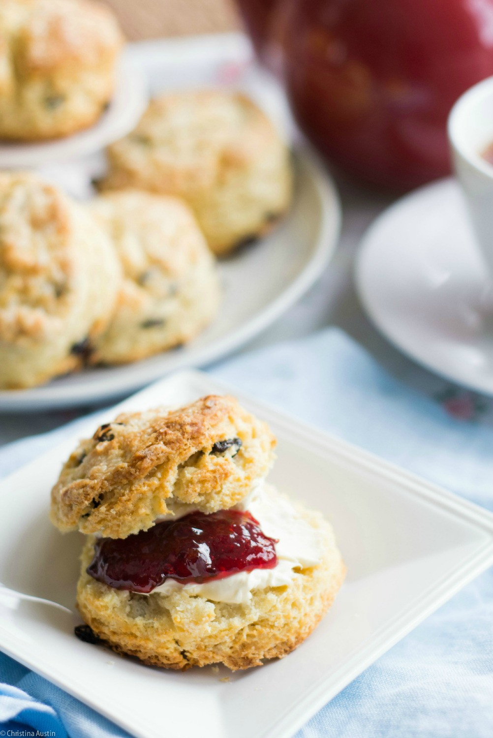 Currant scones with Devonshire Cream and homemade jam