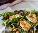 Field Green Salad topped with Fried Halloumi and Za'atar Vinaigrette