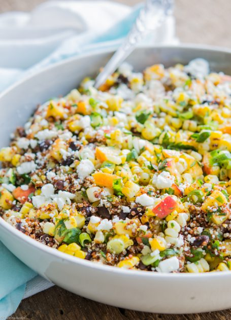 Grilled Sweet Corn and Peach Quinoa Salad