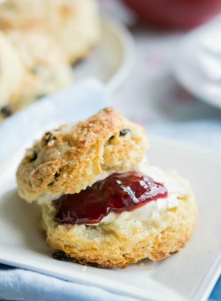 Buttermilk Currant Scones with jam