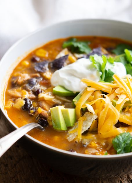 Bowl of Chicken & Sweet Potato Tortilla Soup