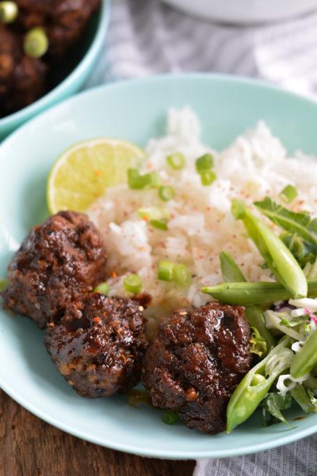 Teriyaki Beef Meatballs with rice